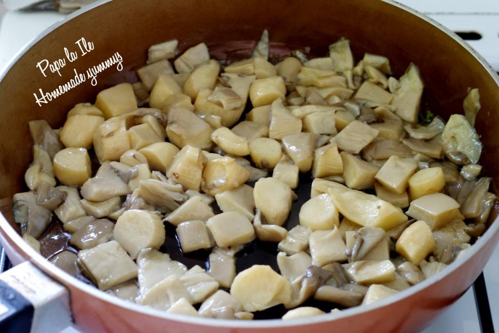 Tagliatelle de casa cu pesto de leurda, pleurotus si rosii cherry (6)