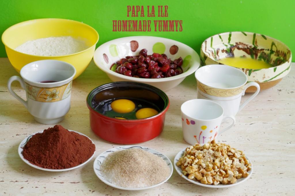 prajitura cu cacao, visine si nuca (2)